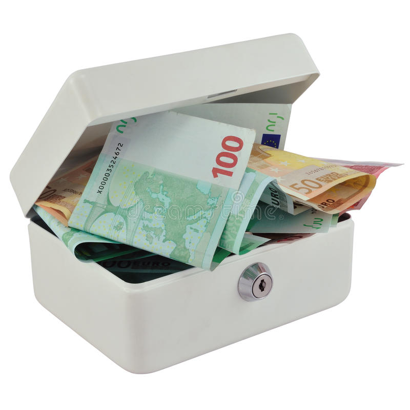 pudełkowaty euro pieniądze zdjęcia royalty free