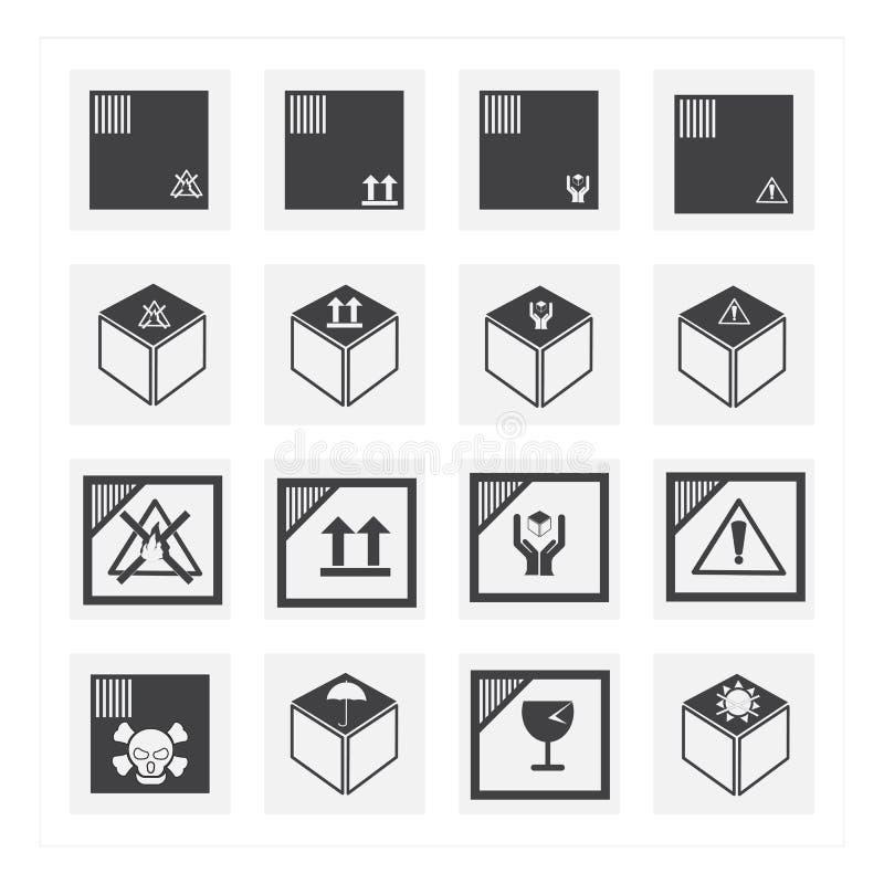 Pudełkowaty ikona set royalty ilustracja