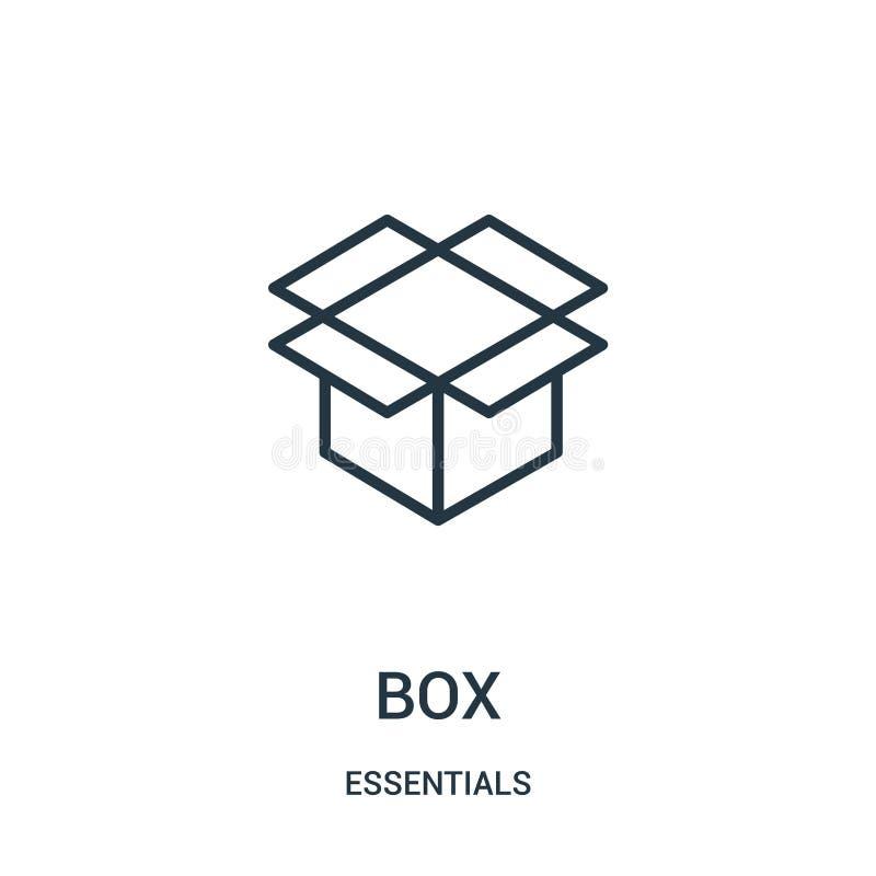 pudełkowaty ikona wektor od podstaw inkasowych Cienka linii pudełka konturu ikony wektoru ilustracja Liniowy symbol dla używa na  ilustracja wektor