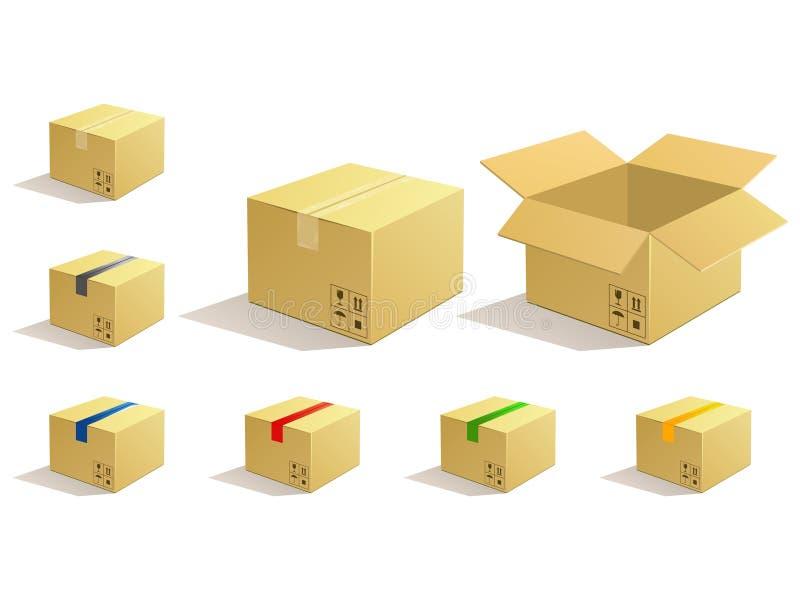 pudełkowaty kartonowy ikon pakunku pakuneczek royalty ilustracja