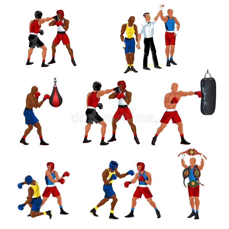 Pudełkowaty mieszkanie set składał się sparingowego arbitra ogłasza zwycięstwo boksera uderza pięścią torby knockdown i profesjon ilustracja wektor