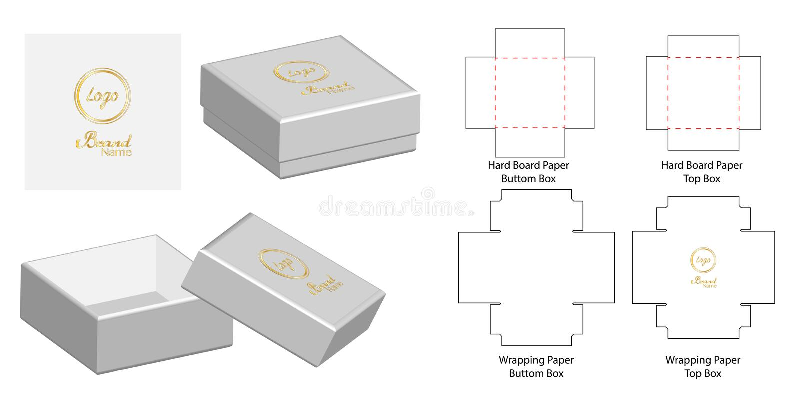 Pudełkowaty pakuje kostka do gry szablonu rżnięty projekt 3d egzaminu próbnego wektoru ilustracja ilustracja wektor