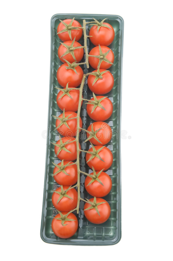 pudełkowaty pomidorowy biel obrazy stock