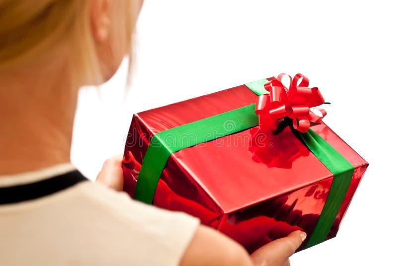 pudełkowaty prezent wręcza czerwień zdjęcie royalty free