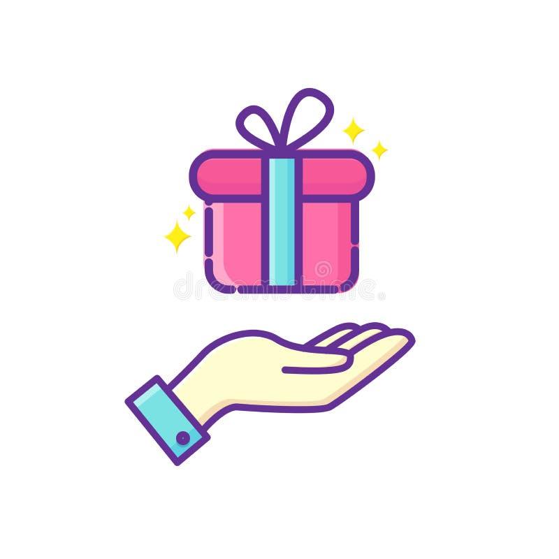 pudełkowaty prezenta ręki mienie łęku pudełkowaty prezenta faborek prezent również zwrócić corel ilustracji wektora ilustracja wektor