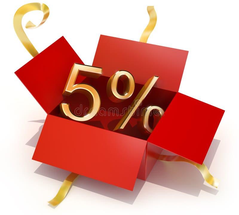 pudełkowaty rabata pięć prezenta procent ilustracji