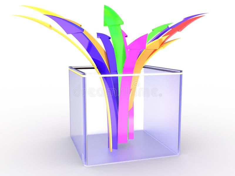 pudełkowaty strzała szkło ilustracja wektor