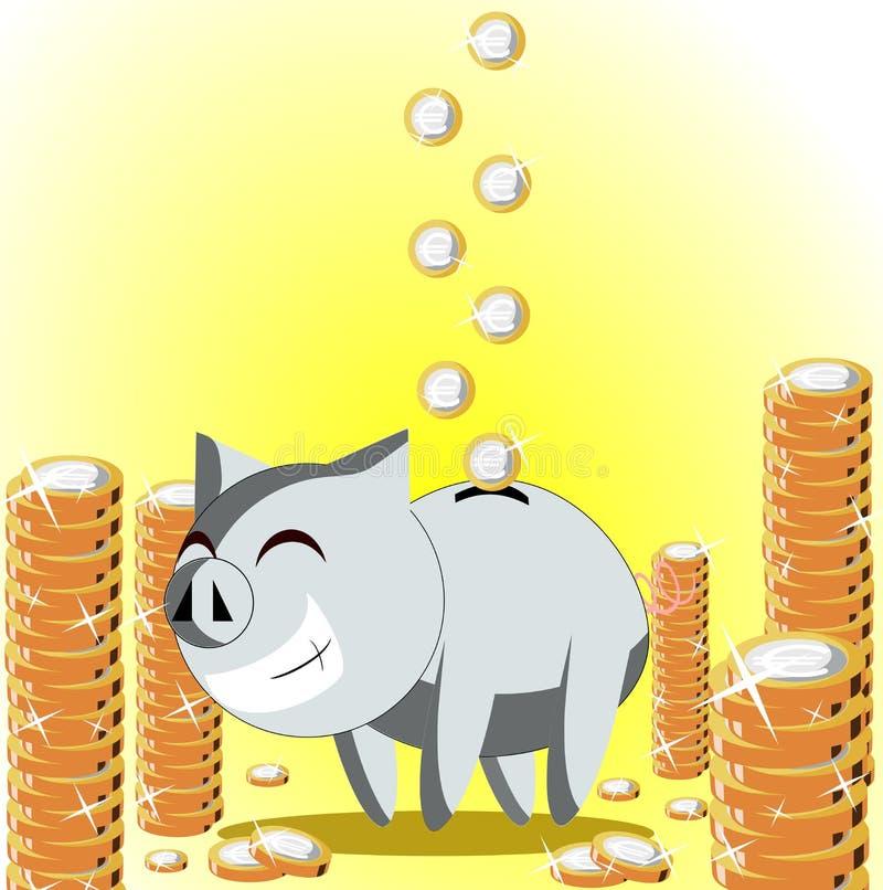 pudełkowaty szczęśliwy pieniądze royalty ilustracja