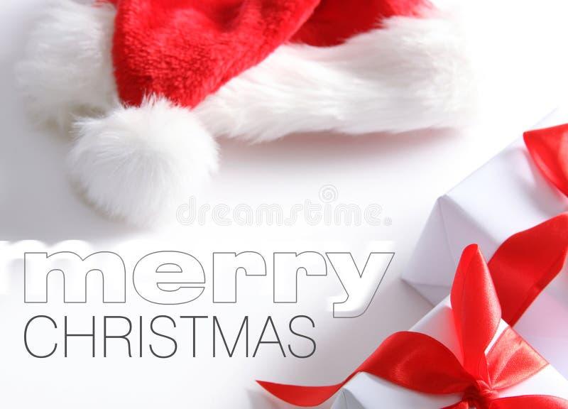pudełkowatych chrismas łatwy kapelusz usuwa Santa tekst zdjęcie stock