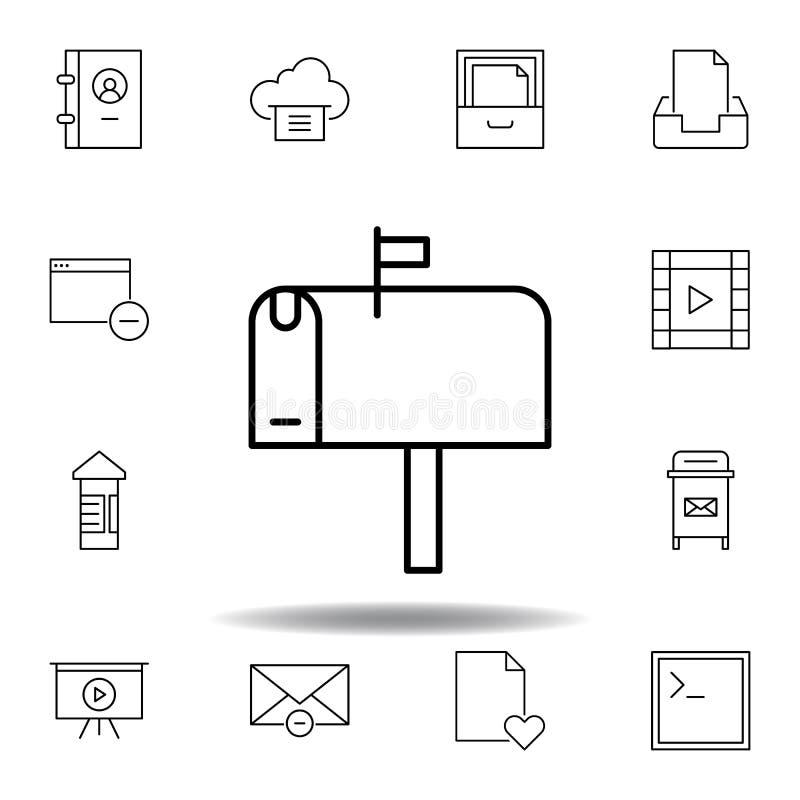 Pude?kowata emaila postbox konturu ikona Szczegółowy set unigrid ilustracji multimedialne ikony Może używać dla sieci, logo, mobi ilustracja wektor