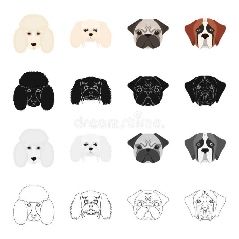 Pudel, molthesis, Bulldogge und andere Netzikone in der Karikaturart Hund, Tier, inländisch, Ikonen in der Satzsammlung lizenzfreie abbildung