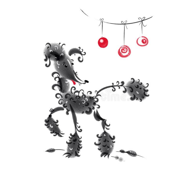 Pudel och tre röda julbollar royaltyfri illustrationer