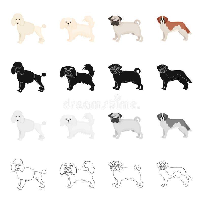 Pudel, Schoßhund, Bulldogge und andere Netzikone in der Karikaturart Hund, Tier, inländische Ikonen in der Satzsammlung vektor abbildung