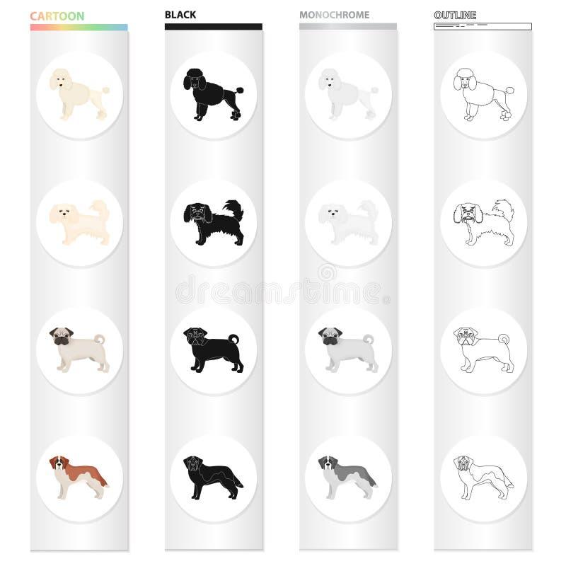 Pudel, Schoßhund, Bulldogge und andere Netzikone in der Karikaturart Hund, Tier, inländische Ikonen in der Satzsammlung lizenzfreie abbildung