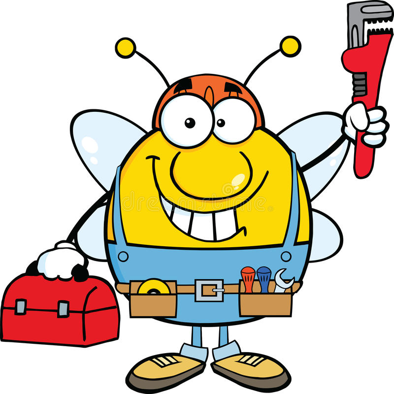 Free Pudgy Bee Plumber With Wrench And Tool Box Stock Image - 33239861