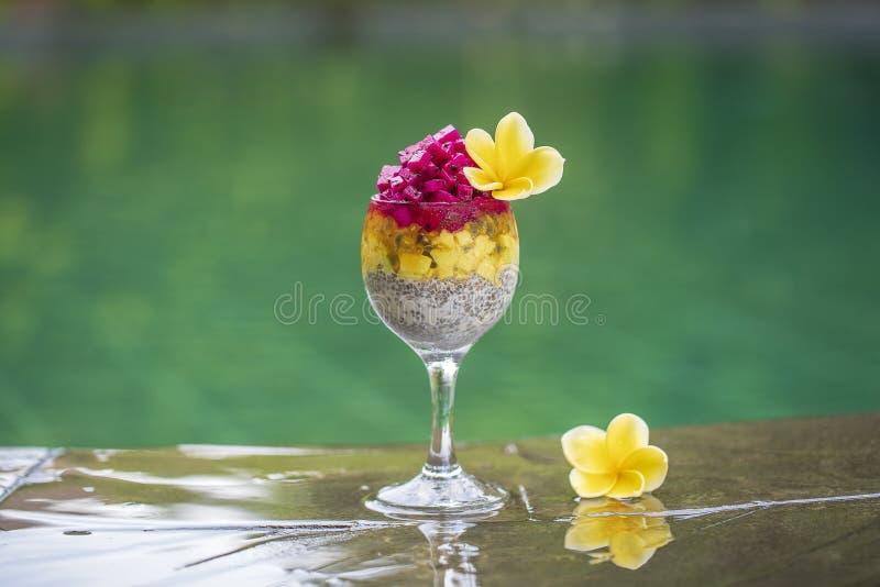 Pudim das sementes de Chia com fruto vermelho do dragão, fruto de paixão, manga e abacate em um vidro para o café da manhã no fun imagem de stock royalty free
