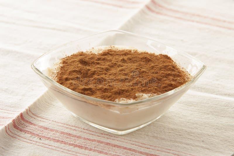 Pudim de arroz cremoso polvilhado fotografia de stock
