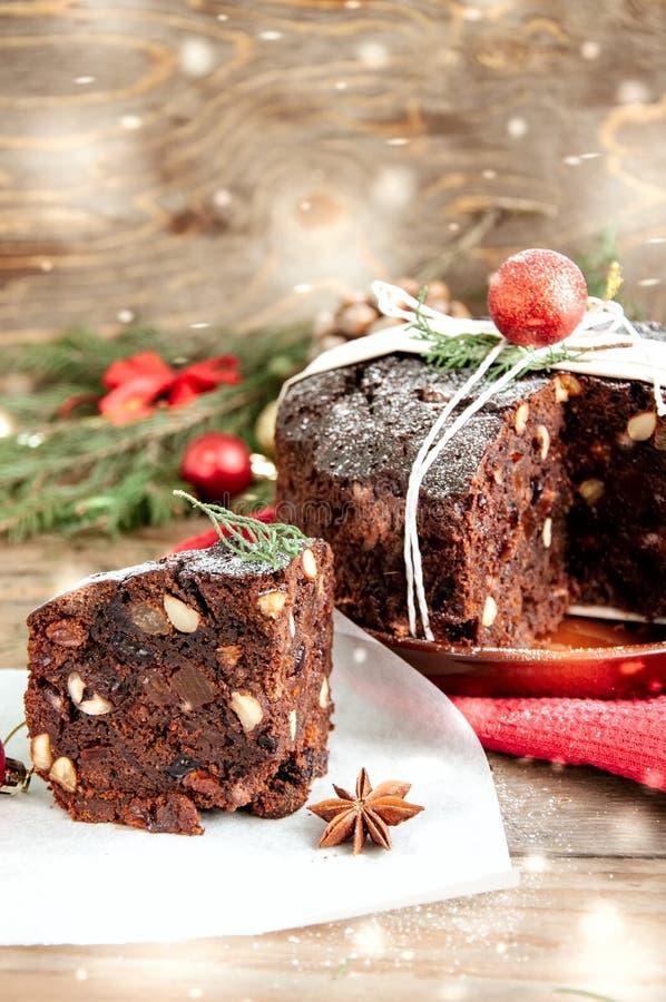 Pudim do Natal do chocolate foto de stock