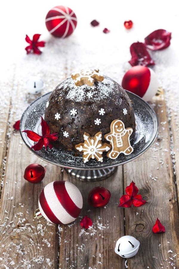 Pudim do Natal com pão-de-espécie fotos de stock royalty free