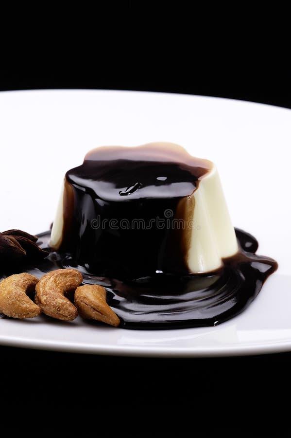 Pudim e chocolate da baunilha foto de stock royalty free