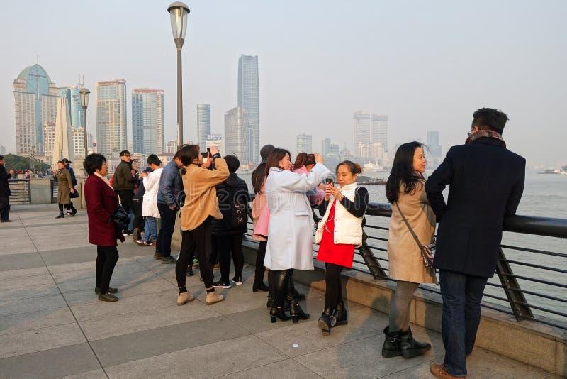 Pudong gromadzki widok od Bund nabrzeża terenu w Szanghaj zdjęcia royalty free