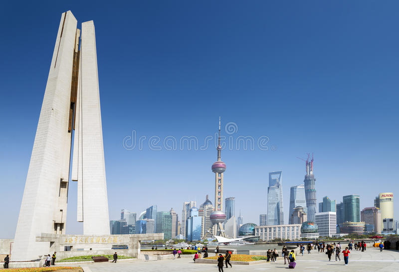 Pudong horisont och monument i det shanghai porslinet royaltyfria bilder