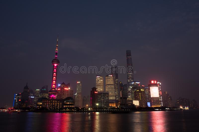 Pudong at night from across Huangpu River royalty free stock images