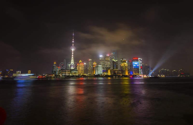 Download Pudong skyline at night editorial stock image. Image of modern - 53969364