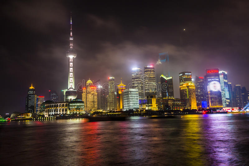 Download Pudong Skyline At Night Editorial Photography - Image: 53969882