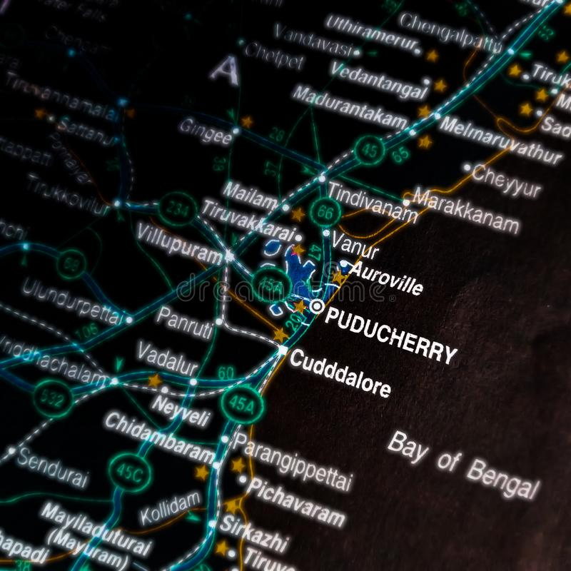 Puducherry city name displayed on geographic map in India stock photos