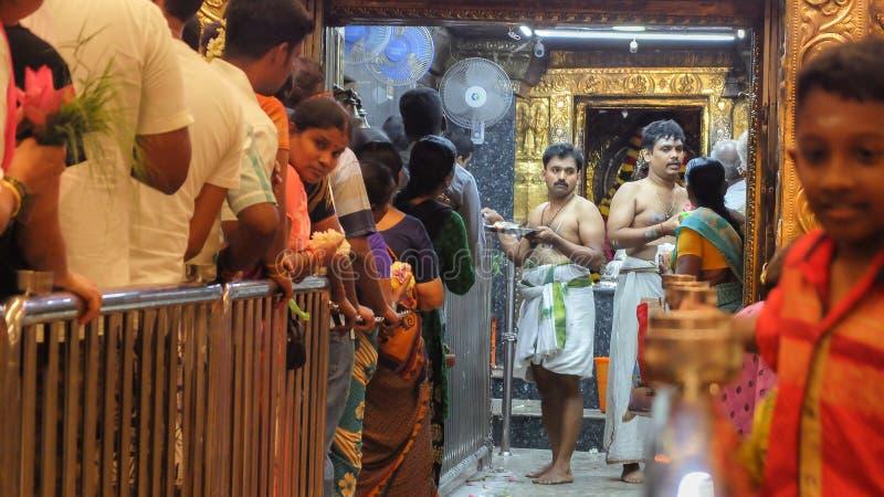 PUDUCHERRY PONDICHERRY/INDIA-FEBRUARY 24 2018:Shehnai. PUDUCHERRY PONDICHERRY/INDIA-FEBRUARY 24 2018:Worshipers queue up inside Manakula Vinayagar Temple to stock photo