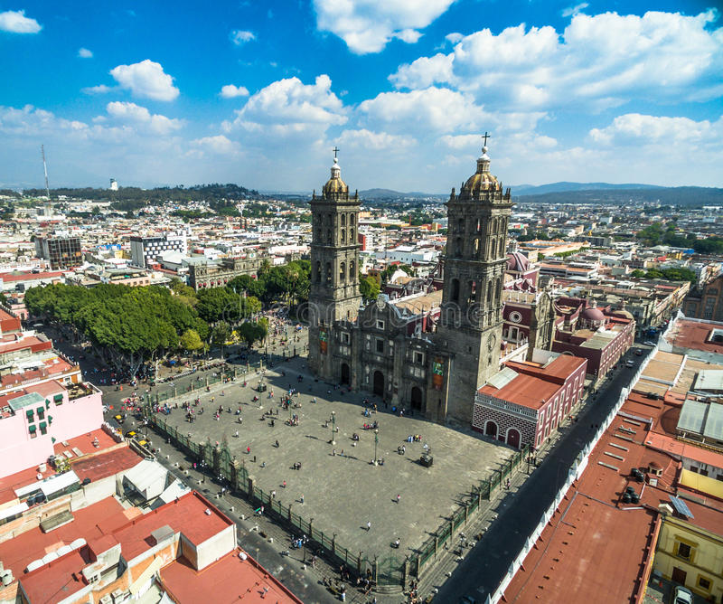 Puebla cathedral. Aerial view of Puebla`s cathedral royalty free stock photography
