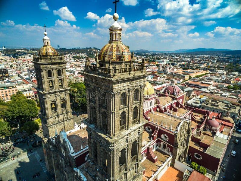 Puebla cathedral stock photos