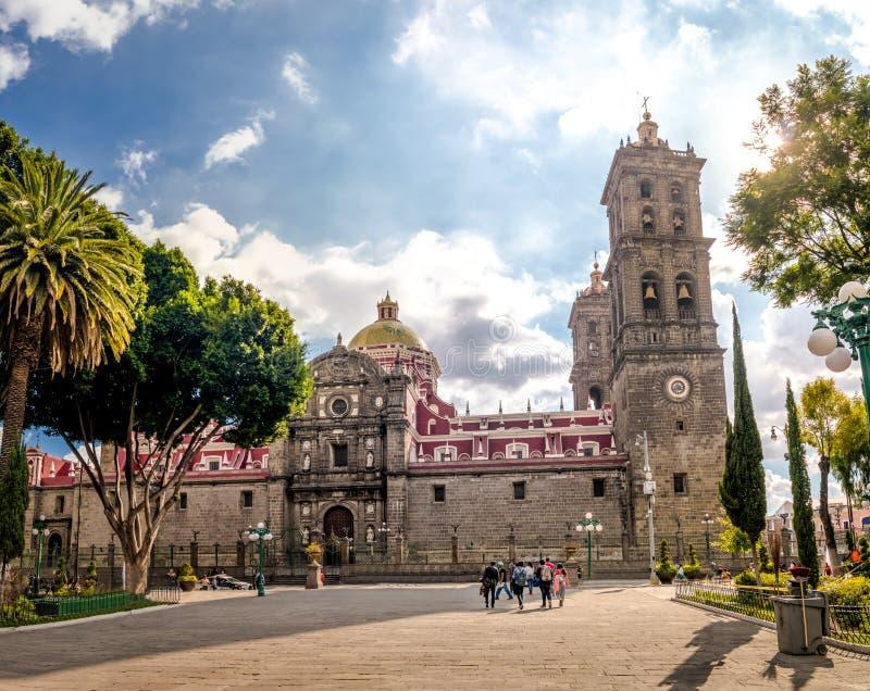 Puebla Cathedral - Puebla, Mexico stock image