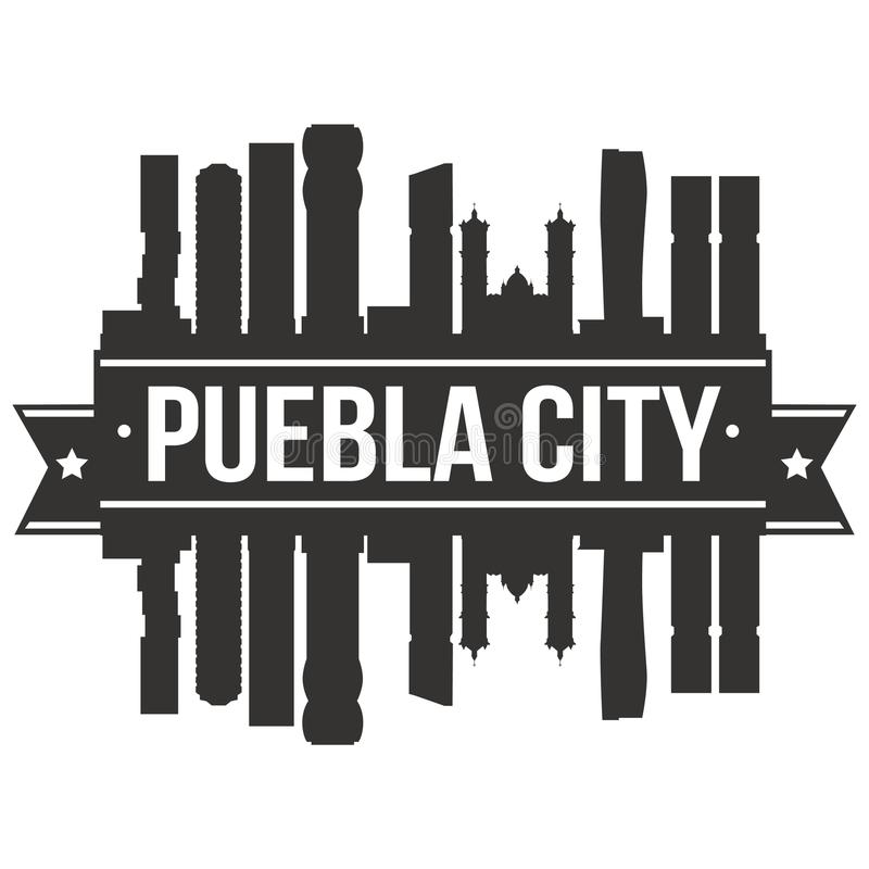 Puebla City Mexico Icon Vector Art Design Skyline Flat City Silhouette Editable Template royalty free illustration