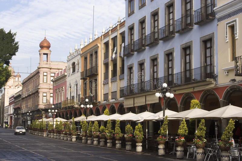 Puebla downtown. Downtown the city of Puebla hotels, colonial buildings and outdoors restaurants royalty free stock photo