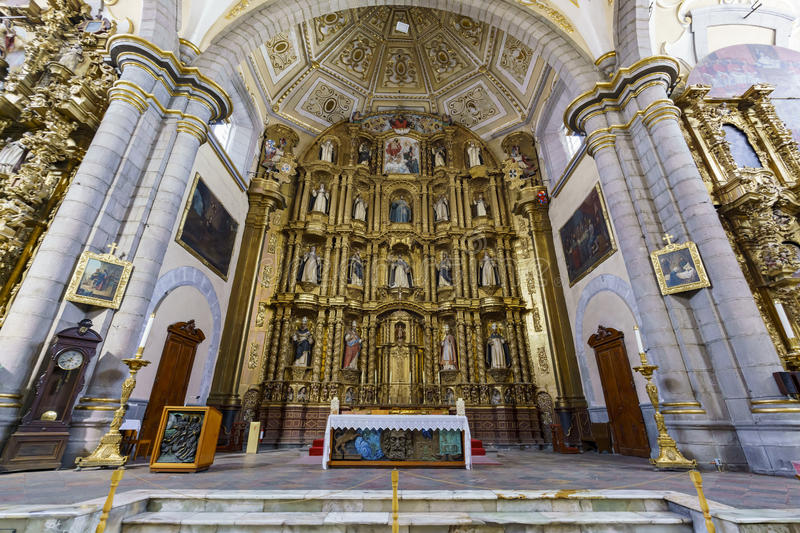 Interior view of Church of Santo Domingo. Puebla, FEB 18: Interior view of Church of Santo Domingo on FEB 18, 2017 at Puebla, Mexico royalty free stock photos