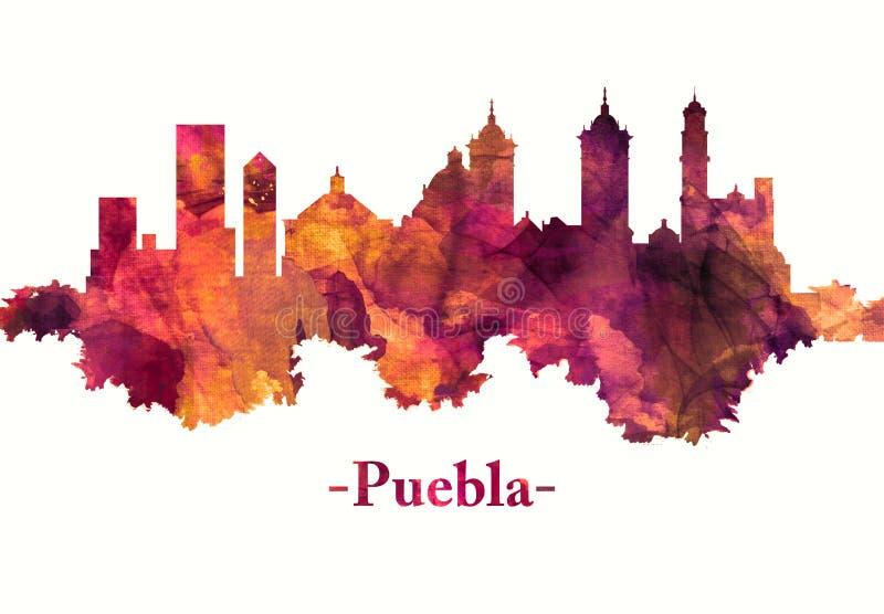 Puebla Meksyk linia horyzontu w czerwieni ilustracji