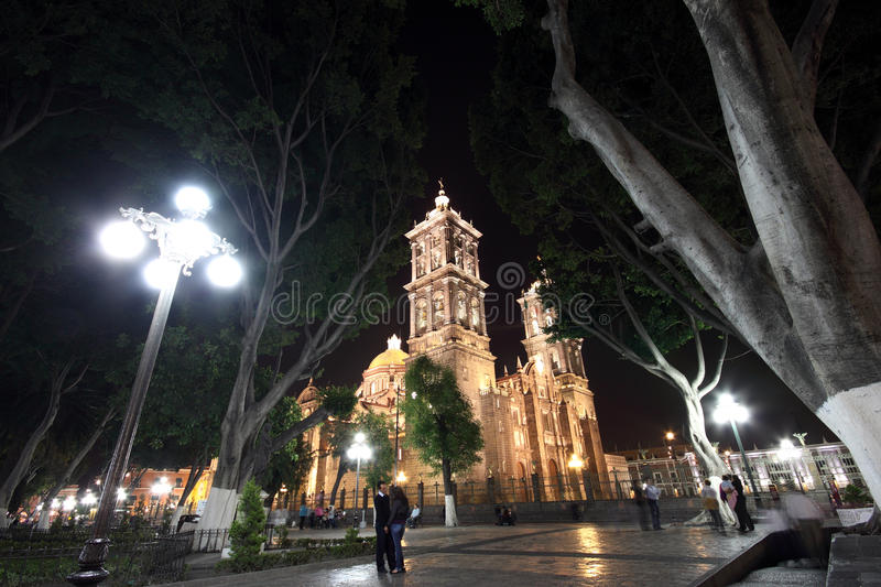 Puebla by night. Beautiful cathedral in Puebla from the Zocalo by night royalty free stock image