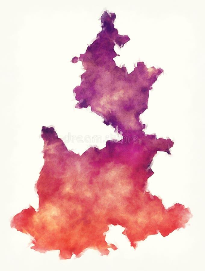 Puebla-Staatskarte von Mexiko vor einem weißen Hintergrund vektor abbildung