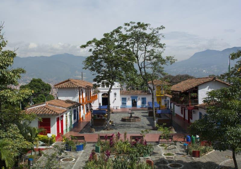 Pueblito paisa在市麦德林,哥伦比亚 库存照片