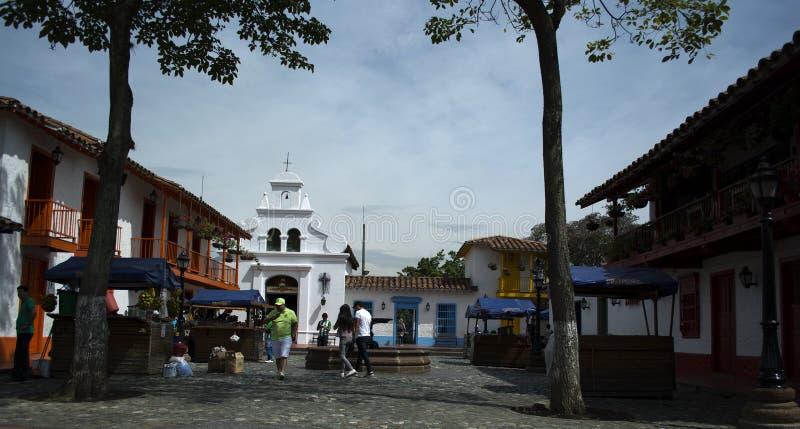 Pueblito Paisa no monte de Nutibara, reprodução do tradicional foto de stock royalty free