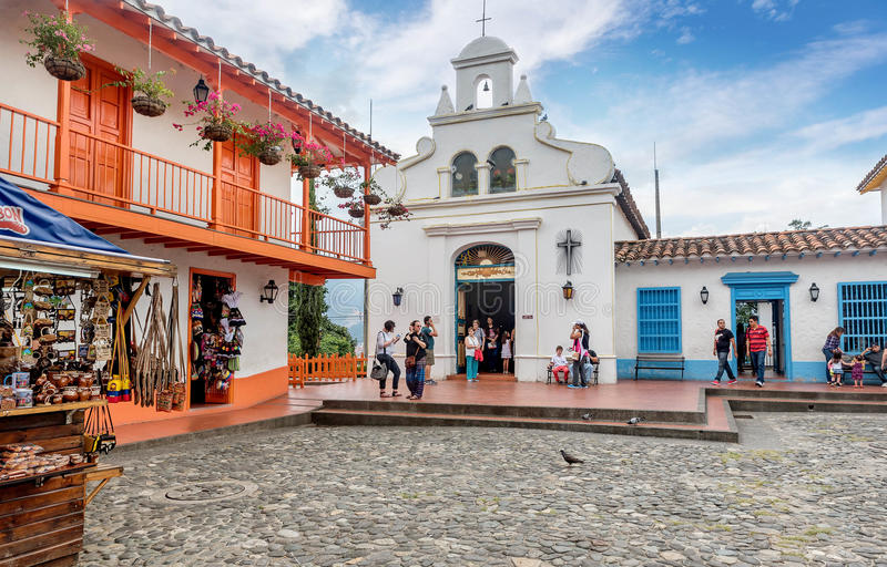 Pueblito Paisa in Nutibara-Heuvel, Medellin-stad in Colombia stock foto