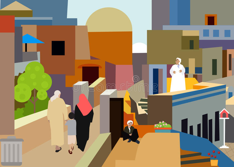 Pueblo árabe colorido libre illustration