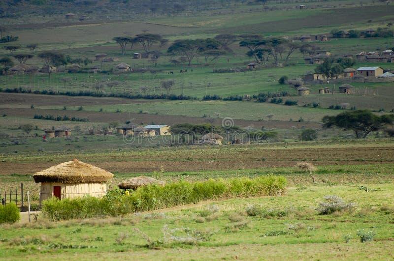 Pueblo africano de la choza foto de archivo
