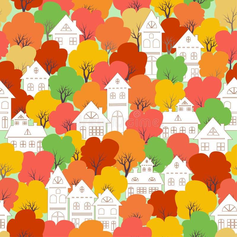 Pueblo blanco de la ciudad en el modelo inconsútil del humor colorido del otoño para decorativo, la moda, la tela, la materia tex ilustración del vector