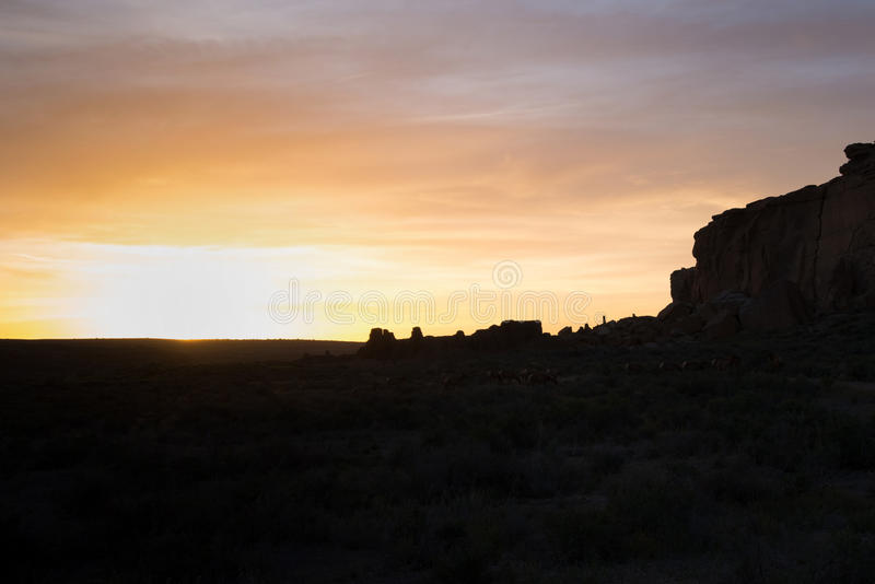 Pueblo Bonito, Chaco Canyon National Park. Silhouette skyline of Pueblo Bonito, the largest and best-known great house in Chaco Culture National Park, northern stock photo