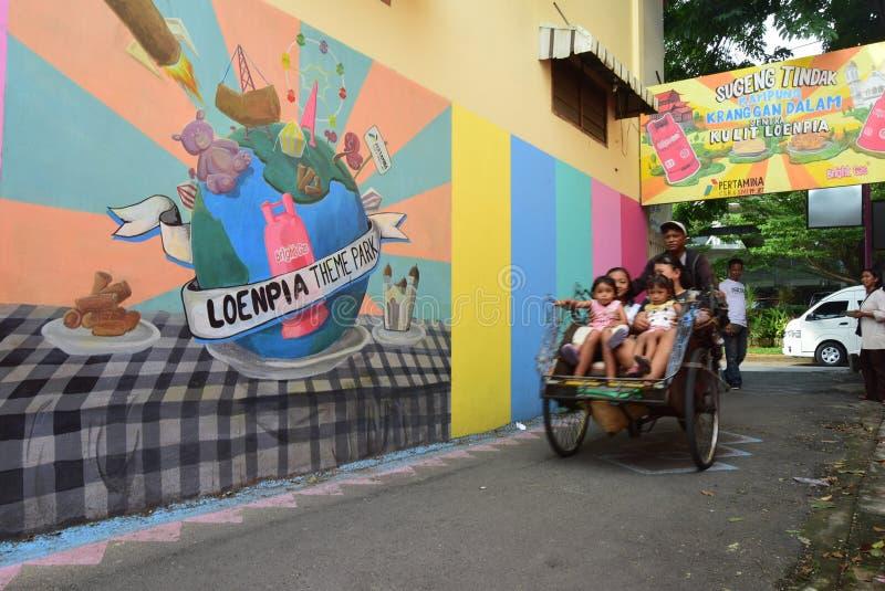 Pueblo brillante del gas en la ciudad de Semarang fotografía de archivo libre de regalías