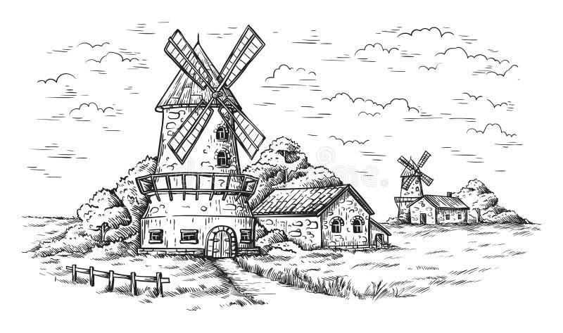 Pueblo cerca de un campo de trigo y de un molino de viento dibujados a mano libre illustration