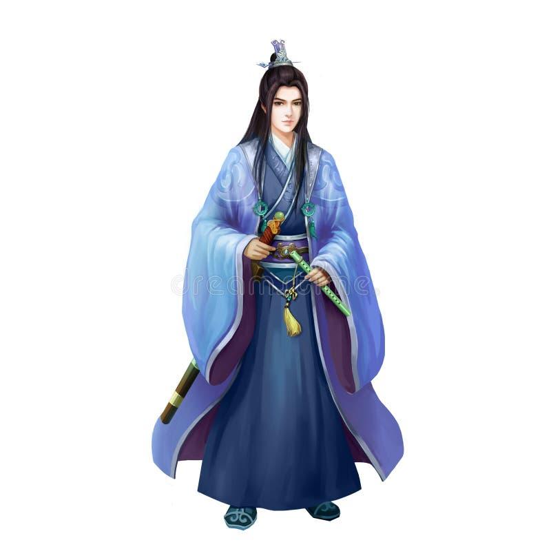 Pueblo chino antiguo de las ilustraciones: Hombre bastante joven, caballero, espadachín hermoso stock de ilustración